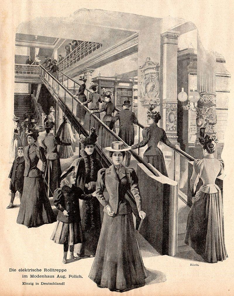 (Bild; elektrische Rolltreppe im Modehaus Aug. Polich in Leipzig 1898; Quelle: Wikipedia)
